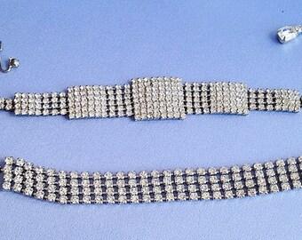 ART DECO Style Clear Rhinestone Necklace Bracelet SET