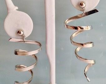 Long Coiled Silver Swirl Pierced Earrings