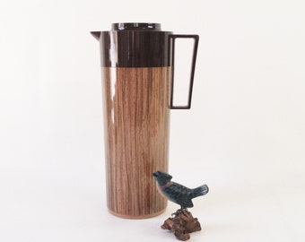 Thermos - 1960's or 70's Tall Aladdin Beverage Butler Thermos in Faux Wood Design - Hot Drink Thermos - Tall Coffee Thermos Pitcher
