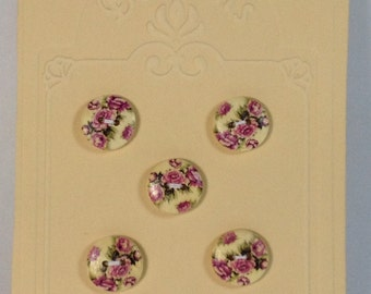 5 Buttons in wood 15mm 2 holes fantasy violet roses.