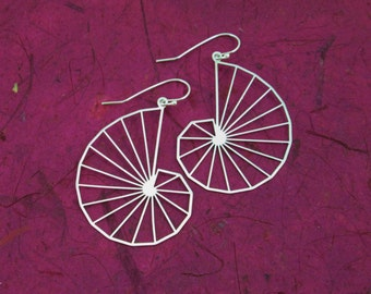 Theodorus spiral earrings - math jewelry - geometry silver