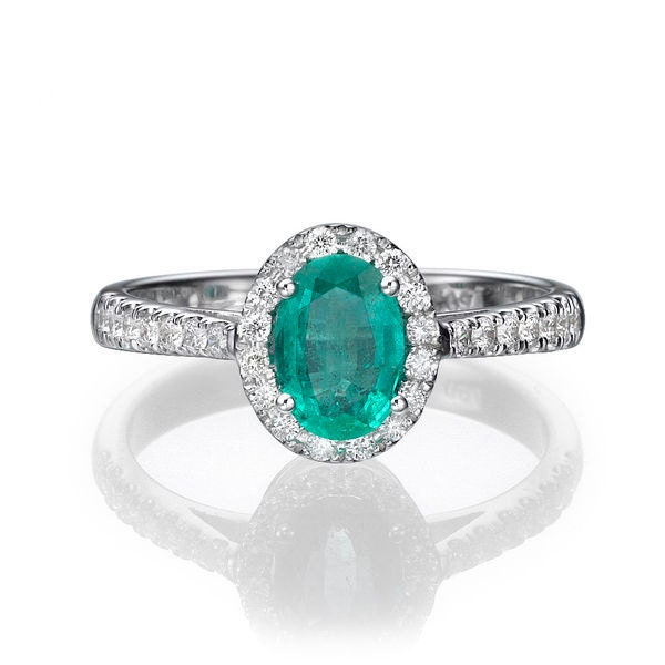 oval emerald engagement ring 14k white gold ring halo