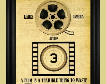 Film Reel Illustration, Movie Art Print, Roger Ebert Quote, Movie Theater Sign