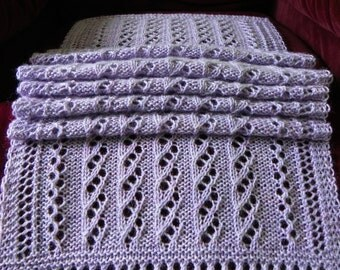 Hand Knit Lavender Wool Lace Scarf