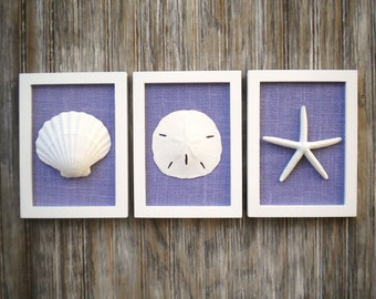 Cottage Chic Set of Beach Wall Art, Nautical Decor, Beach House Wall Decor, Sea Shell Art, Beach Decor, Coastal Art, White & Violet Burlap
