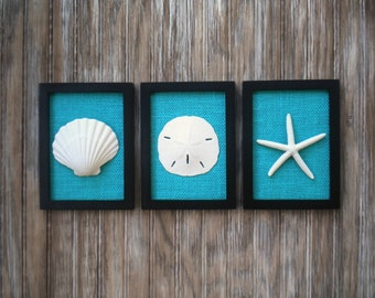 Cottage Chic Set of Beach Wall Art, Sea Shells Home Decor, Beach House Wall Decor, Sea Shell Art, Coastal Decor, Black & Teal Burlap