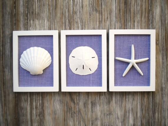 Beach Chic Wall Decor : Cottage chic set of beach wall art nautical decor