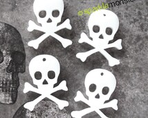 Skull and Crossbones Charms - 4 pcs, white, laser cut acrylic, flat backs, goth
