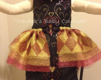 Lizzie Hearts Costume Child Ever After High Cosplay Halloween Costume Queen of Hearts