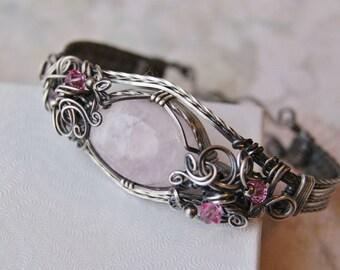 Rose Quartz Bracelet, Wire Wrapped Bracelet, Silver-filled Wire, Art Nouveau Jewelry