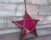 Vintage Stained Glass Hanging Candle Holder
