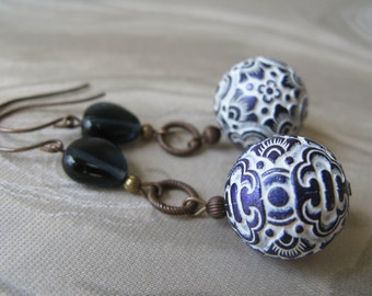 published blue and white unique earrings, lightweight unique earrings, published in Jewelry Stringing Magazine Winter 2015 earring gallery
