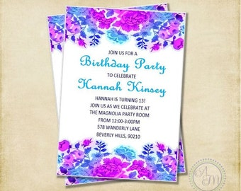 Girl Birthday Party Invitation Pink Aqua Chevron Sleepover