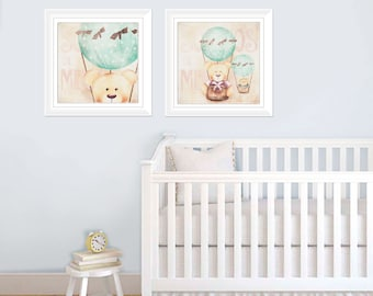 SET OF TWO 12x12 art print , Kids wall art - baby nursery decor - nursery wall art - children wall art - - print teddy bear air ballon