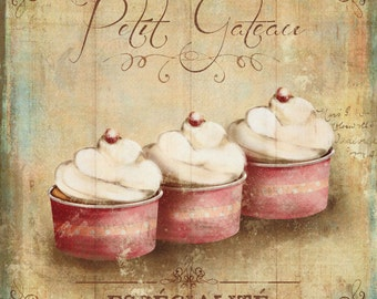 cupcakes art print, petit gateau art print