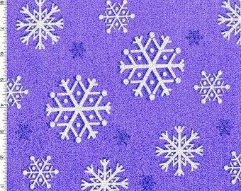 Snowflake Metallic Glitter Amethyst Purple Fabric - Snowfall Collection - Michael Miller Fabrics in Amethyst