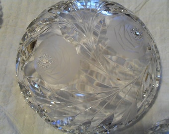 Pair cut glass/etched glass bowls
