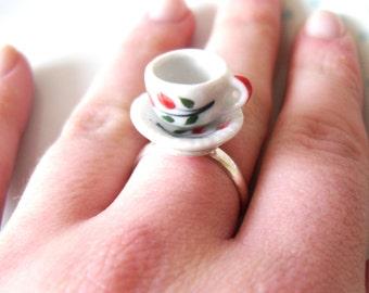 Alice in Wonderland Floral Teacup Ring, Tea cup, Retro, Flower, Silver, Adjustable, Miniature, Mini, Cute, Whimsical