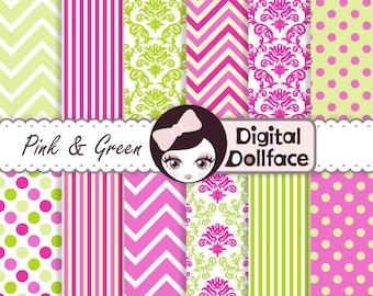Pink and Green Digital Paper, Chevron, Polka Dots, Damask Scrapbook Paper