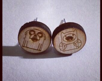 Adventure Time Inspired Finn and Jake Wooden Earrings