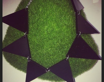 Large Black Matte & Gloss Acrylic Bunting Necklace.