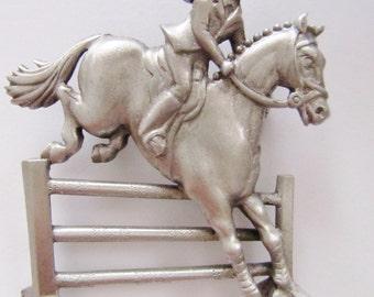 JJ Jonette Equestrian Rider Jumping Fence Brooch Pin