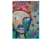 Contemporary Outsider Art - Primitive Face Painting - Staring Eyes Art - Raw Art Face - Lowbrow Portrait - ArtBeartriceM - Beatrice Artist