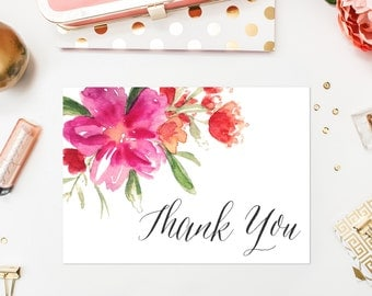 INSTANT DOWNLOAD Thank You Card - Hot Pink Hand Painted Watercolor Flower Posy Thank You Card - 5 x 7