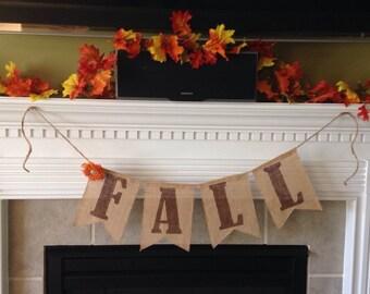 FALL burlap banner - Fall sign - Thanksgiving Burlap banner - Autumn banner - Holiday banner