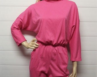 Awesome 80's High Collar HOT Pink Jumpsuit Jumper Sz Small-Medium