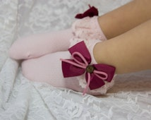 2T, 3T & 4T Baby Girl Lace Socks with Bow and Button Cute Easter Accessory
