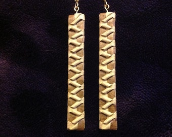 "PALIER:   Pali Lauhala earring  2 to 21/2"" long X 1/2 inch wide.."