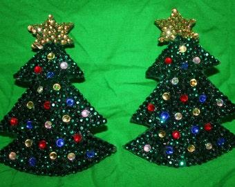 Burlesque Pasties Crystal Rhinestone Large Christmas Trees