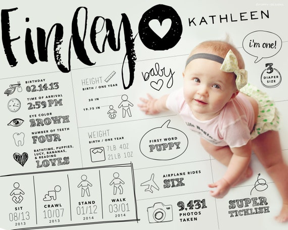 items similar to 8x10 custom designed one year baby infographic style keepsake art digital. Black Bedroom Furniture Sets. Home Design Ideas