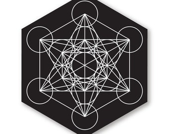 "1 ""Metatron's Cube"" Vinyl Bumper Sticker - Indoor or Outdoor - FREE SHIPPING"