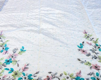 Ivory White Dupioni Silk Fabric with Pastel Sequins and Spring Colored Flower Embellishments
