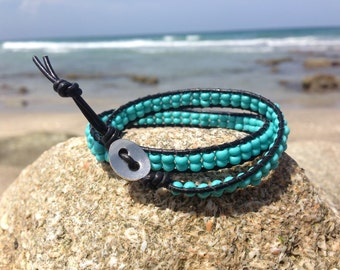 Turquoise Leather Wrap, Turquoise Beaded Bracelet, Black Leather, Turquoise Bracelet, Turquoise Wrap Bracelet, Turquoise Beaded Bracelet