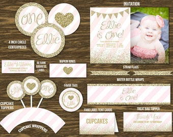 Pink and Gold Birthday Ultimate Party Package - Printable