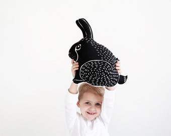 cute screen printed cotton rabbit pillow children kid stuffed animal toy black and white graphic design bunny shaped