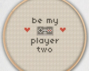 Be My Player Two Cross Stitch Pattern - Instant Download PDF