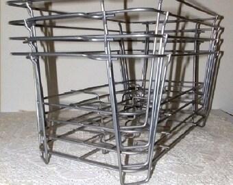 Set of 2 Industrial Metal Wire Storage Baskets