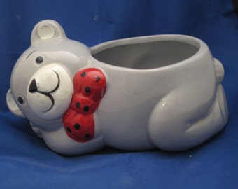 Small bear cub with bow tie planter