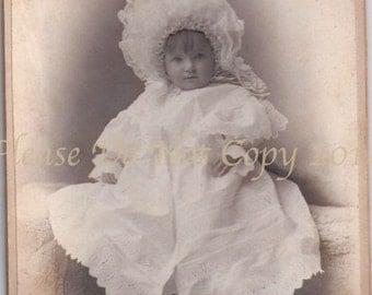 Vintage Cabinet Photograph - Beautiful Bonnet Baby