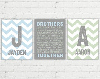 Newborn twin boys baby gift | blue and green twin nursery art | chevron brothers room decor | brothers wall art | twin boys baby shower gift