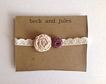 Adorable 2 rosette flower headband