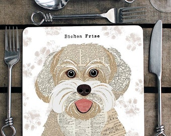 Bichon Frise personalised placemat/coaster