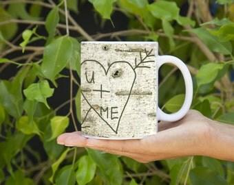 Heart Carved in tree U+ME mug-Real Birch tree image!