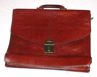 Vintage Tan Leather Briefcase,, PUCCINI,, Made in Sweden, Man Bag, Case, Attache, Laptop Bag @94