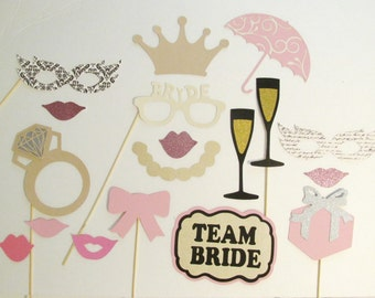 Bridal Shower Photo Booth Prop 18pc Wedding Photo Booth Prop Team Bride Sign Engagement Ring Photo Booth Prop Pink and Gold Photo Booth Prop