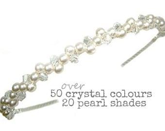 Pearl Hairband, Pearl & Crystal Headband, Bridal Hairband, Bridal Headband, Bridesmaid Headband, Bridal Headpiece, Pearl Wedding Headband